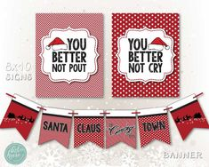 Christmas Package --- Santa Claus is Coming to Town -- Printable Red and White Collection Instant Do Winter Parties, Holiday Parties, Santa Claus Is Coming To Town, First Birthday Cakes, Holidays With Kids, Backdrops For Parties, Holiday Festival, Party Printables, First Birthdays
