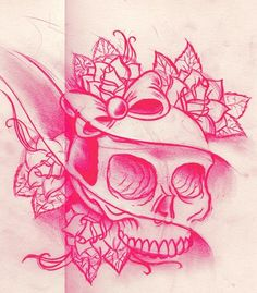 Skull Tattoos Girly Designs - Tattoos...get rid of the weird wave thing & shape the eyes into hearts