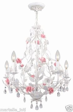 White Wrought Iron Chandelier w Pink Roses Hand Cut Crystal Accents New FrShp | eBay