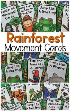 Perfect for your Rainforest unit! Rainforest movement cards are the perfect addition to preschool gross motor or kindergarten gross motor. They are a great way to combine movement and learning with your units. Use them as brain breaks all year long! Rainforest Preschool, Rainforest Classroom, Rainforest Crafts, Rainforest Activities, Preschool Jungle, Jungle Theme Classroom, Rainforest Habitat, Rainforest Theme, Rainforest Animals
