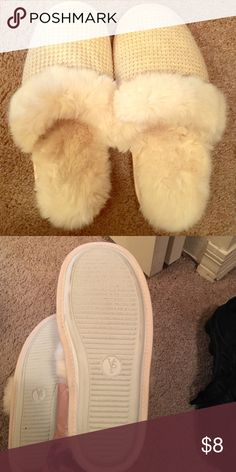 Victoria secrets PINK slippers Fuzzy white slip on slippers, PINK brand. Size large. Worn only once like new! PINK Victoria's Secret Intimates & Sleepwear