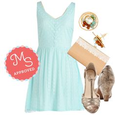 In this outfit; Carefree for All Dress, Everybody Dance Heel in Bronze, Swirl and Shine Earrings, Romantic Reunion Clutch #mintdress #bronze #clutch