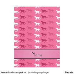 Personalized name pink colored horses fleece blanket