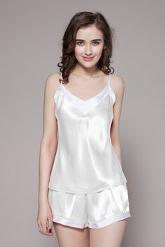 Enrich your pretty nightwear with our 100-percent pure ladies silk pj in natural white color, which is on sale and made of 19 momme mulberry silk. $94 #pajamas #silk #lilysilk