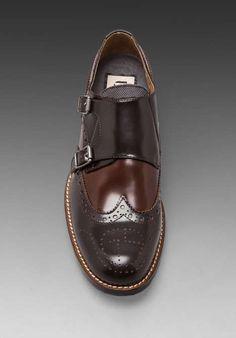 G-Star // | Manor Credo Shine Wingtip Double Monk in Dark Brown Textured Leather w/ Mild Brown