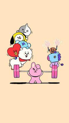Cute Cartoon Wallpapers, Cute Wallpaper Backgrounds, Bts Wallpaper, Foto Bts, Bts Photo, Bts Army Logo, Kpop Drawings, Character Wallpaper, Bts Chibi