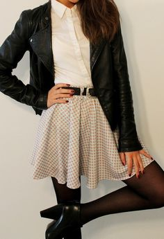 drapey skirt with a button down and leather jacket. don't know why, but I love this!!