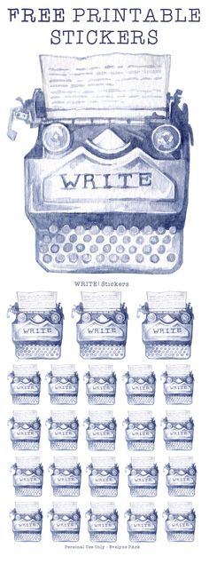 "A sheet full of this ""WRITER"" typewriter sticker motive, in two different sizes.  Painted in watercolor, this planner sticker is perfect for marking writing time in your daily schedule and looks gorgeous in minimalist or vintage themed bullet journals! JPG 300 DPI, US letter size"