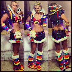 This took some work, but I loved how it turned out! 7 strings of battery operated light strings to make this Rainbow Brite Halloween costume shine bright!
