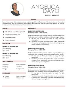 "Premium Resume Template 2 page / CV Template + Cover Letter + References / Instant Download for MS Word / Tips and Guide Help. ""Angelica"" Curriculum Vitae Template, Curriculum Vitae Resume, Cv Template, Templates, Resume Cv, Professional Resume, Lorem Ipsum, Budgeting, Ms"