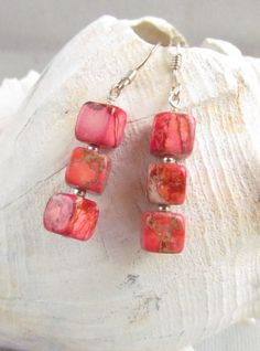 Coral Color Ocean Jasper Beaded Earrrings Handmade by Harleypaws, $15.00