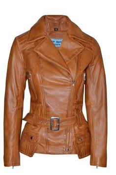 Smart Range Women's Feminine Washed Retro Vintage Biker Style Designer Real Leather Jacket 12 Tan