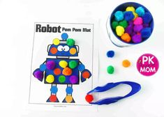 These colorful robot needs help finding all their parts! Students use colorful pom-poms to match the dots on each robot. Students will build stronger small motor muscles Early Learning Activities, Motor Skills Activities, Easter Crafts For Kids, Toddler Crafts, Pom Pom Mat, Robot Theme, Activity Mat, Craft Free, Learning Colors