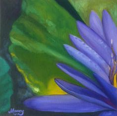 """Purple Water Lily #1 by Marcy Brennan  Oil on 12"""" x 12"""" canvas panel - $200 - SOLD"""