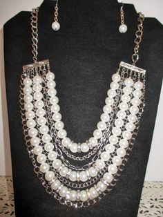Gorgeous Pearl and Chain Necklace with Matching Earrings