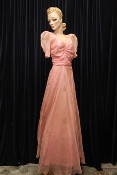 1930s hand painted silk tea gown.