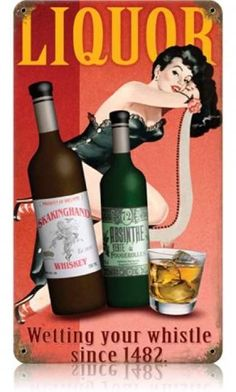 Vintage and Retro Wall Decor - JackandFriends.com - Vintage Liquor  - Pin-Up Girl Metal Sign, $35.97 (http://www.jackandfriends.com/vintage-liquor-metal-sign/)