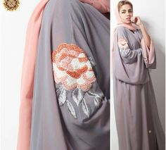Grey and peach floral abaya