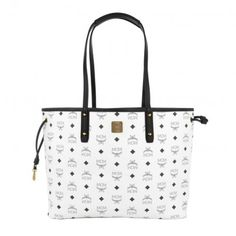 MCM Tasche – Project Visetos Reversible Shopper Medium White – in weiß – Umhängetasche für Damen