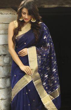 #midnight #blue #saris #zari #festive #Fabindia #drape