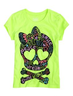 Neon Green Tee with a Girly Skull!! Love it