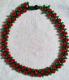 "They call it ""Spring Flowers"" - I call it ""Christmas Flowers""   ~ Seed Bead Tutorials"