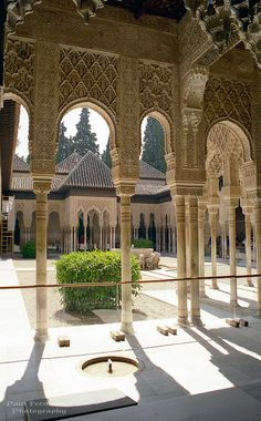 The Alhambras Patio de los Leones in Granada, Spain [labeled one of the 12 treasures of Spain]