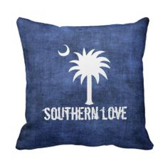 Denim Look South Carolina Love Palmetto Tree Pillows. Nice way to show your pride of place.