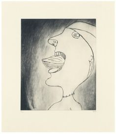 Louise Bourgeois - Madeleine, 1999  Drypoint on paper  Sheet: 43.2 x 38.1 cm  Plate: 30.5 x 25.4 cm
