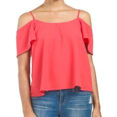 Coral Flutter-Sleeve Top Adjustable straps. Cold shoulder sleeve, scoop neck. Polyester. Imported. Hand wash. Button closure on back. Boutique Tops Blouses