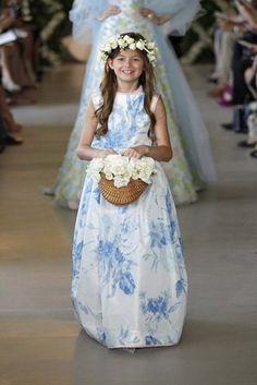 A pretty printed flower girl dress from Oscar de la Renta Bridal 2013
