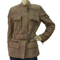 eb440c9c03c Auth YSL Yves Saint Laurent Pale Beige Leather Floral Embossed Jacket -  Sz36 Warm Jackets,