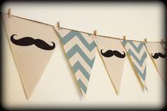 Blue Chevron print Mustache Banner - Party Banner