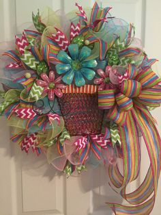 Spring/Summer Wreath, Wreath, Anytime Wreath, Flowers Wreath, welcome Wreath, DecoMesh Wreath, Wreath Flowers, Year Round Wreath by RoesWreaths on Etsy https://www.etsy.com/listing/243579107/springsummer-wreath-wreath-anytime