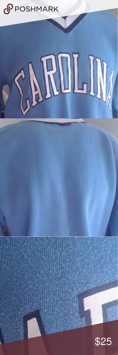 UNIV of North Carolina v-neck SZ med$25 +free gift UNIV of North Carolina v-neck SZ medium$25 pre-owned condition good some sweater bumps but they do not take it away from overall appearance see photos+free gift any item in this closet priced$15 or less. Bundle the two items send me an offer for the price of theUniversity of North Carolina v-neck sweater and I will accept it. official UNC apparel by Russell Athletics Sweaters V-Necks