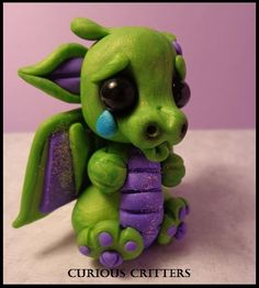 Polymer Clay Sad Baby Dragon by CuteNCuriousCritters on Etsy