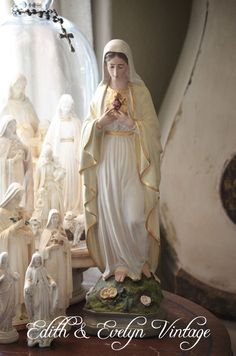 Vintage Immaculate Heart of Mary Statue by edithandevelyn on Etsy