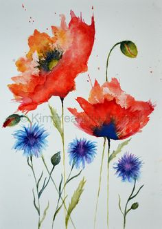 Red Poppies and Cornflowers by KimYeandleHignell on Etsy, £80.00