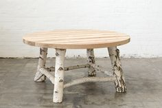 The trend for raw timber furniture couldn't be expressed more literally than by this birch legged table with a sandblasted oregon top. Twig Furniture, Diy Garden Furniture, Timber Furniture, Custom Furniture, Tree Table, Log Table, Colchas Quilt, Birch Tree Decor, Sustainable Furniture