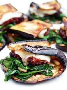 "Eggplant wrap with spinach, sun-dried tomato and cheese. This recipe is shared with us from the book, ""food: vegetarian home cooking"". Mary McCartney, via epicurious Veggie Recipes, Vegetarian Recipes, Cooking Recipes, Healthy Recipes, Cooking Tips, Vegetarian Grilling, Healthy Grilling, Delicious Recipes, Cooking Games"