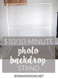 This DIY photography backdrop stand project costs 10 and takes 10 minutes and will step up your photography to the next level Photo Backdrop Stand, Pvc Backdrop, Picture Backdrops, Backdrop Frame, Photography Backdrop Stand, Fabric Backdrop, Vinyl Backdrops, Diy Party Backdrop Stand, Backdrop Ideas