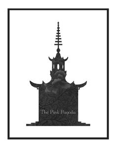 Black Chinese Floral Pagoda Silhouette Giclee by thepinkpagoda