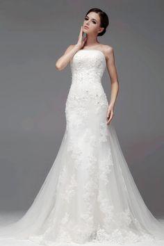 a-line strapless lace floor length natural waist wedding dress