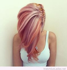 Pink and orange hair with an awesome braid