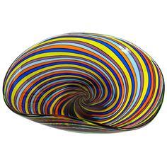 Spiral Swirl Large Venetian Art Glass Bowl 1