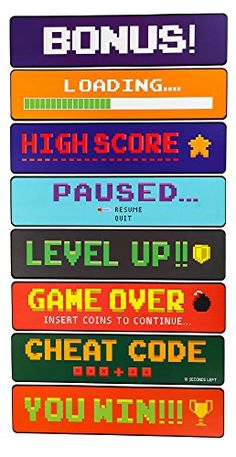 Blue Panda Video Game Sign Cutouts - Arcade Directional Signs Theme Party Decorations, Kids Birthday Party Favors on 350 GSM Cardstock Paper, 17 x 4 inches: Toys & Games Game Themes, Party Themes, Pixel Art, Deco Gamer, Ps Wallpaper, Video Game Party, Video Game Decor, Mundo Dos Games, Party Favors For Kids Birthday