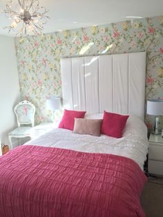 My bedroom Laura Ashley Birds Summer Palace Duck Egg Pink throw white furniture leather headboard louis chair chandelier