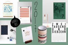 Die Wandkalender 2017 bieten Illustration, Typografie und Design