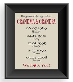 Personalized GRANDPARENTS Gift Print - Gift for Grandma & Grandpa -Christmas Gift - Mother's Day Gift - Important Dates -Other colors on Etsy, $15.00