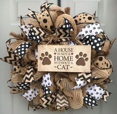 A House is Not a Home Without A Cat Black and Brown Burlap Deco Mesh Wreath